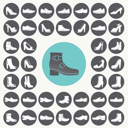 Shoes icons set.