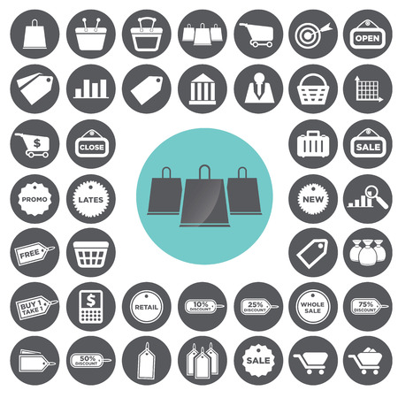 Retail commerce and marketing icons set. Иллюстрация