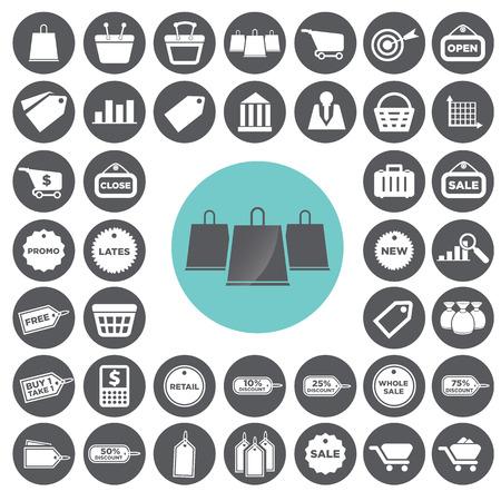 Retail commerce and marketing icons set. Illustration