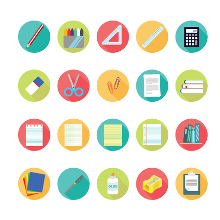 lat icons set of back to school concept.