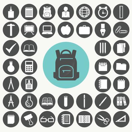 Scuola e istruzione icone set. Archivio Fotografico - 33069592