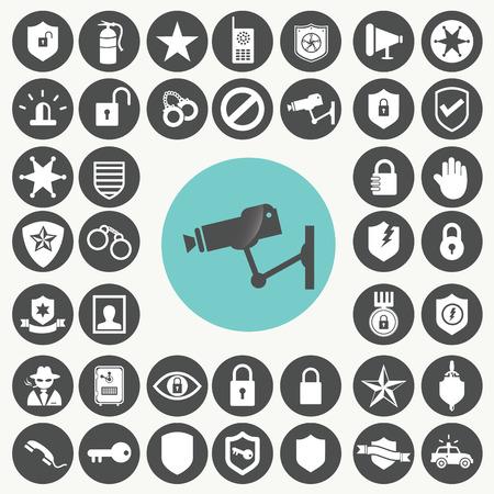 Icone dei dispositivi di sicurezza impostato. Archivio Fotografico - 33069681