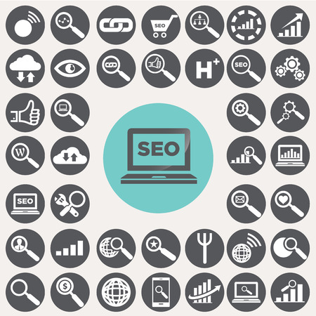 market research: SEO and Internet icons set.