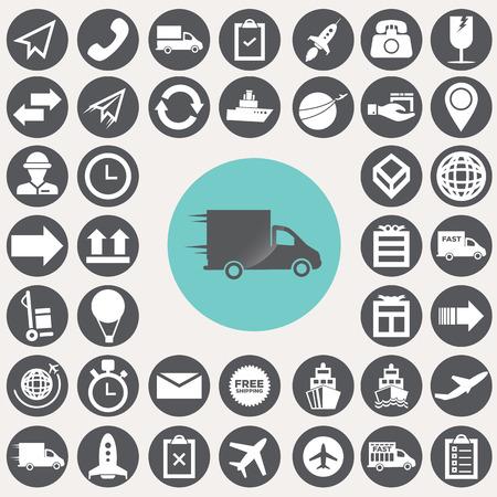 Icone logistiche e commerciali impostate. Archivio Fotografico - 33069680
