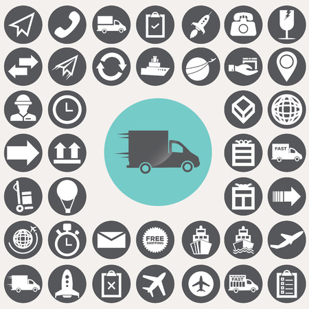 Logistic and shopping icons set.