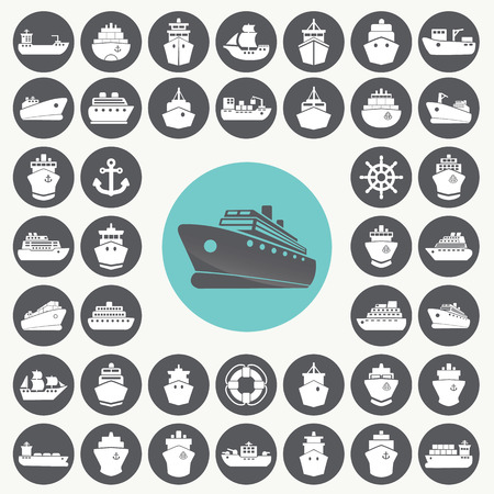 inflate boat: Boat and ship icons set.  Illustration
