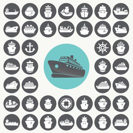 inflar: Iconos de barco y barco establecen. Vectores