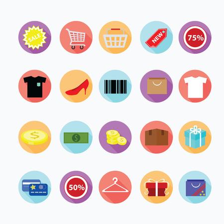 Shopping icone alla moda impostato. Archivio Fotografico - 33069683