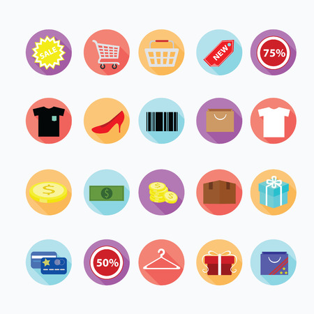 Trendy shopping icons set.