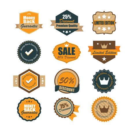 Set of vintage badges.  Ilustrace