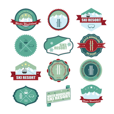 Set of ski mountain badges.  Vector