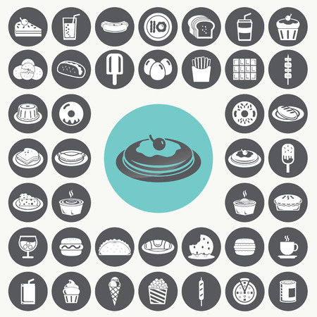 Snacks icons set.