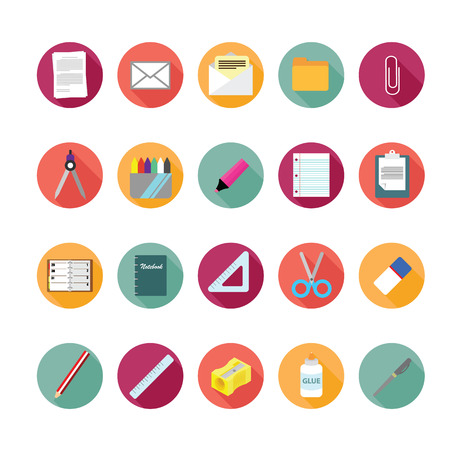 Stationery icons set.  Vector