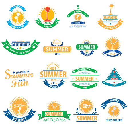 Summer design elements and typography design. Retro and vintage templates.