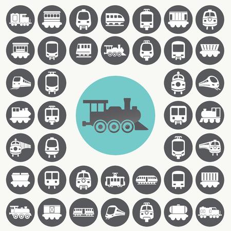 Train icons set.