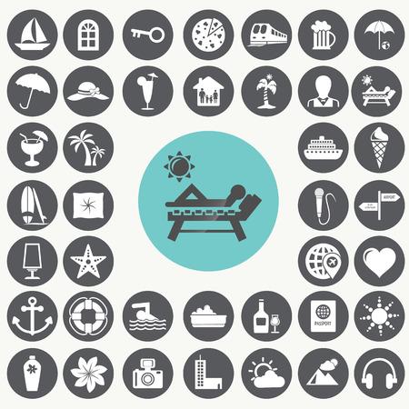 Vacation icons set.  Illustration