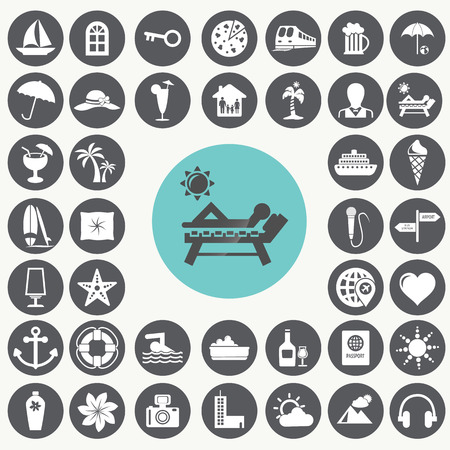 Vacation icons set.  Ilustrace