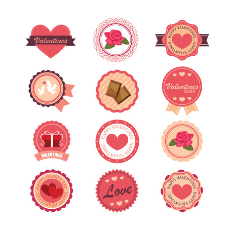 Set of stickers and badges for Valentine's day 일러스트