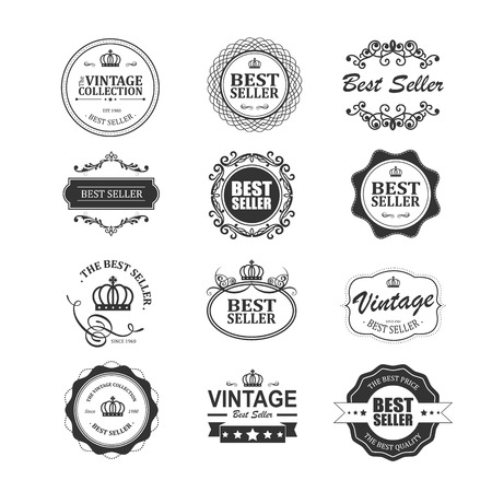 Set of vintage best seller badges and stickers Vector