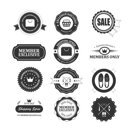 Set of vintage membership badges and labels