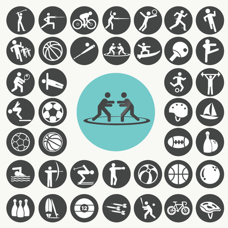 black pictogram: Sports and fitness icons set.