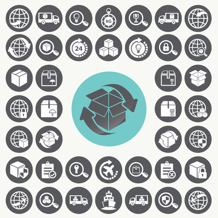 factory workers: Supply chain and logistics icons set.