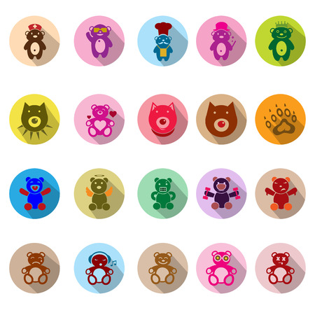 Teddy bear icons set with long shadow