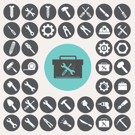 nut bolt: Tools icons set. Illustration