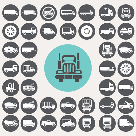 Truck icons set. Vector