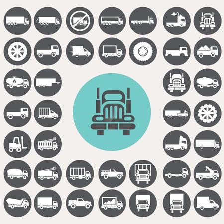 Truck pictogrammen instellen. Stock Illustratie