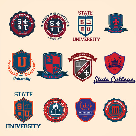 Set of university and college school crests and emblems