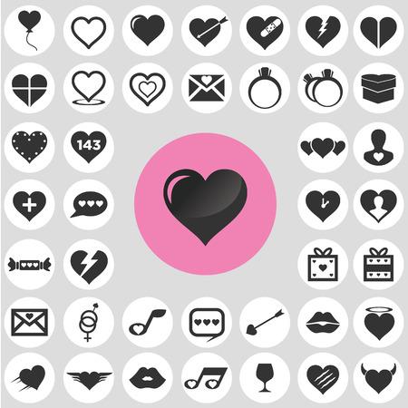 Heart icons set. Ilustrace