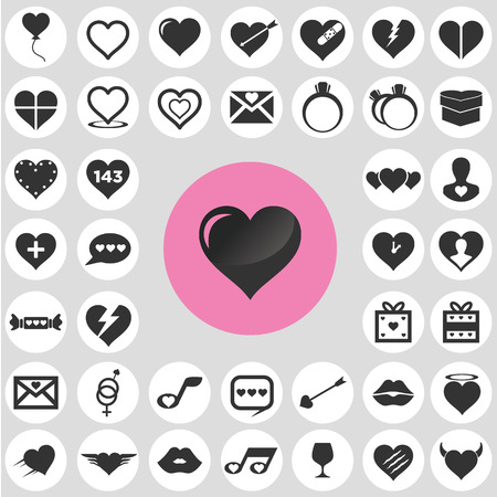 Heart icons set. Illustration