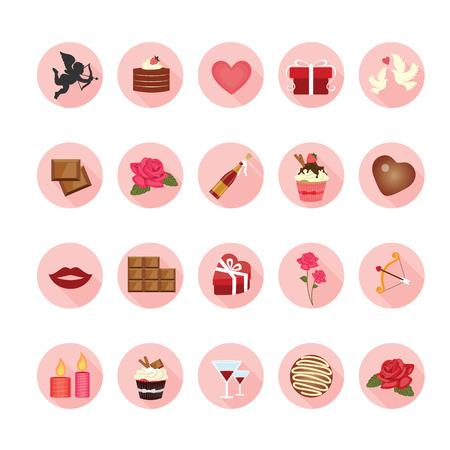 Valentine icons set. Illustration