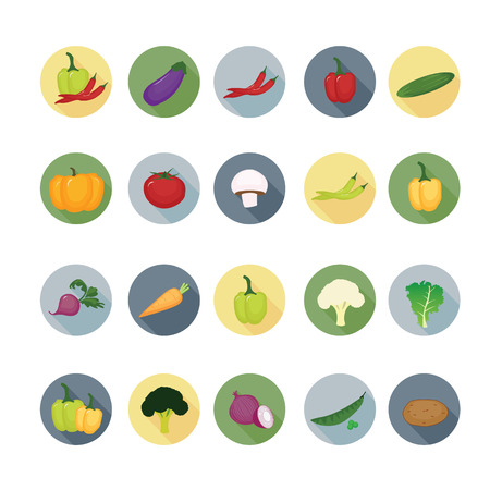 Vegetable icon sets.