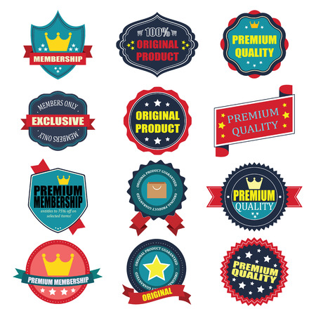 Set of vintage badges. Vintage premium quality labels.