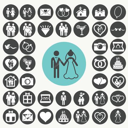 Wedding icons set.  Vector