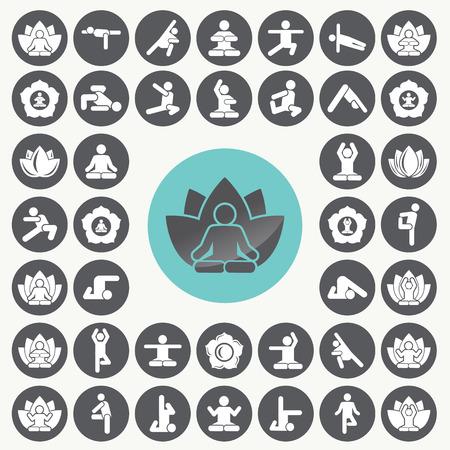 Yoga meditation exercise stretching people icons set. Illustration