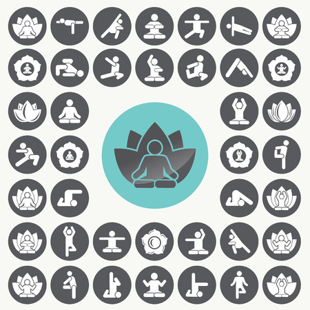 mantra: Yoga meditation exercise stretching people icons set. Illustration