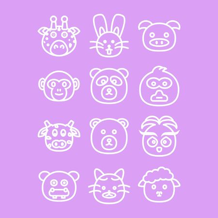 Media Icon Animals for baby card with purple background
