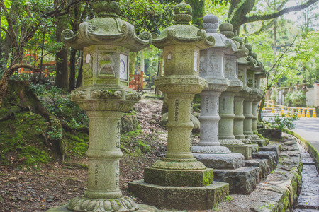 Stone lanterns structure in Japan Editorial