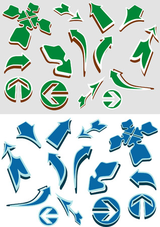 different vector arrows in two colour variations Vector