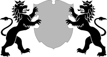 power vector: vector illustration of lions with shield Illustration