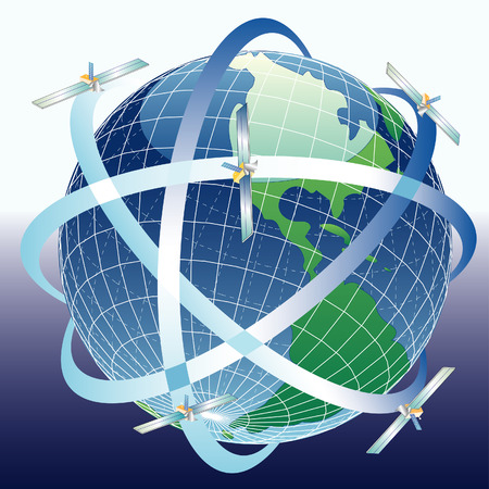 위도: vector globe with satelittes around 일러스트
