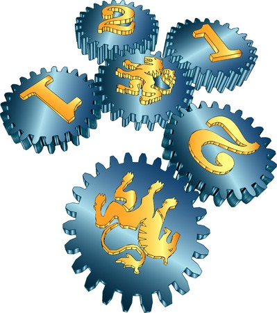 symbolic gears for power and money Vector