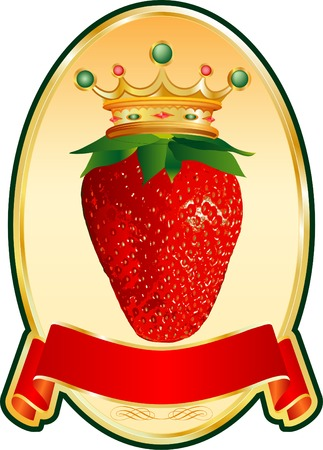 vector label for strawberry products Illustration