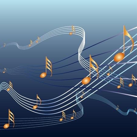 vector de notas con la música de fondo