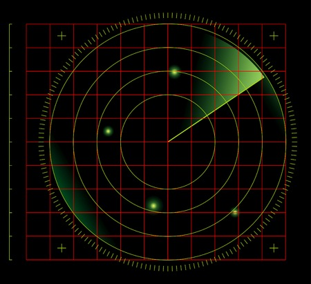 radio beams: vector radar screen