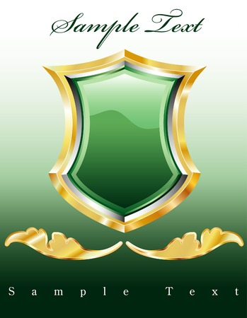 vector label with green shield Vector