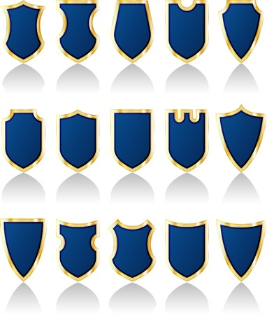 vector set of blue shields Vector